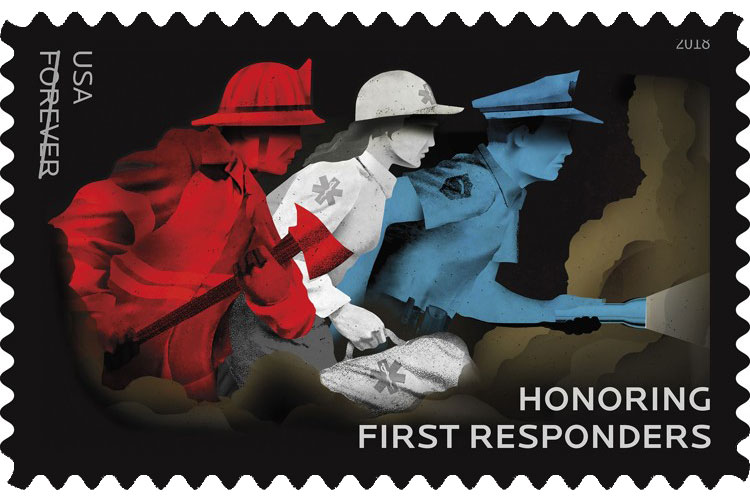 Unveiling ceremony of the newest U.S. Postal Services Forever Stamp honoring First Responders